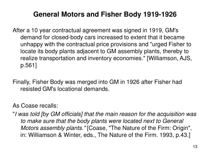 General Motors and Fisher Body 1919-1926