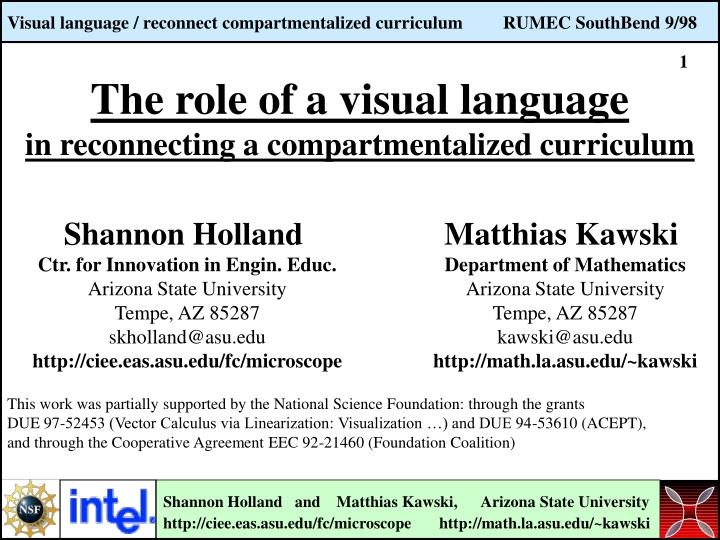 the role of a visual language in reconnecting a compartmentalized curriculum n.