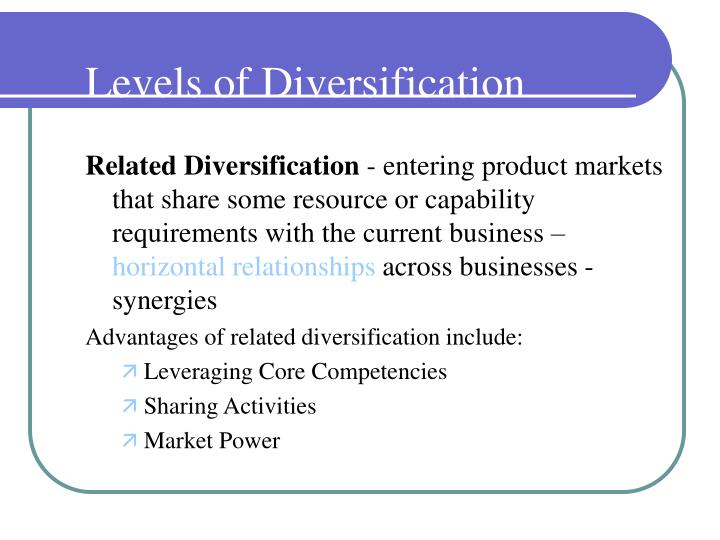 Levels of Diversification