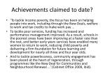 achievements claimed to date