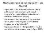 new labour and social exclusion an analysis