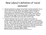 new labour s definition of social exclusion