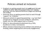 policies aimed at inclusion