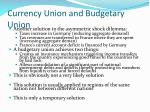 currency union and budgetary union