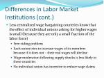 differences in labor market institutions cont1