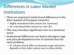 differences in labor market institutions