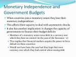 monetary independence and government budgets