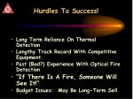 hurdles to success