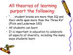 all theories of learning purport the following