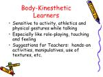 body kinesthetic learners