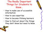 the really important things for students to know