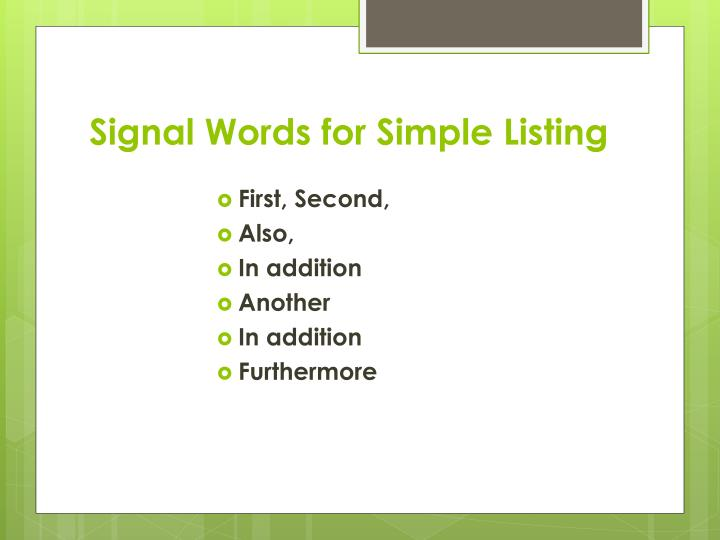 PPT - Patterns of Organization and Signal Words PowerPoint