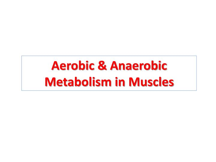 aerobic anaerobic metabolism in muscles n.