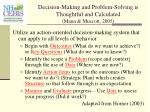 decision making and problem solving is thoughtful and calculated mann muscott 2005