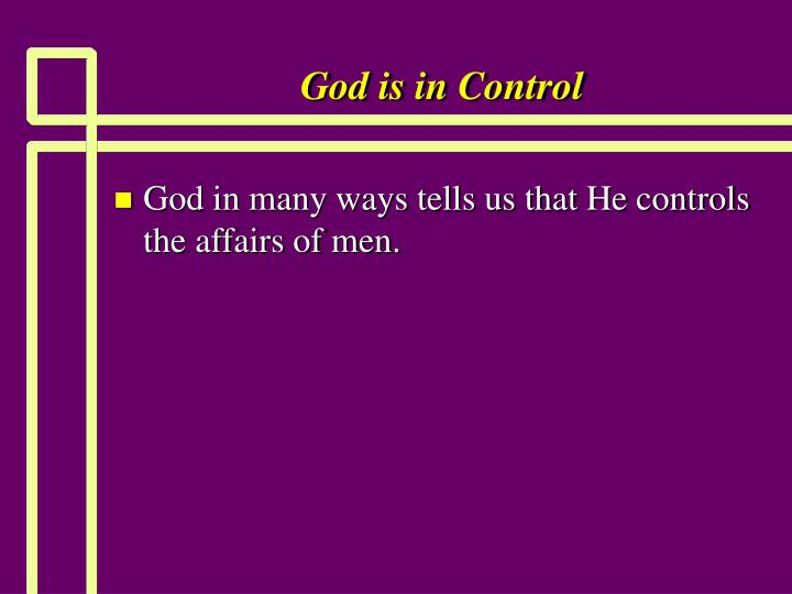 god is in control n.