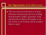 our opportunities to be intercessors23