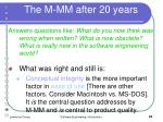 the m mm after 20 years