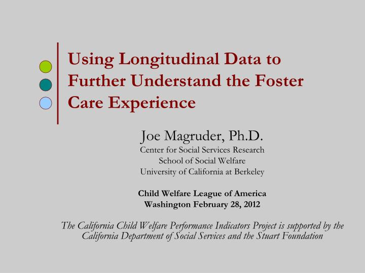 using longitudinal data to further understand the foster care experience n.