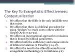 the key to evangelistic effectiveness contextualization