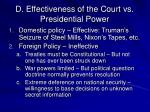 d effectiveness of the court vs presidential power