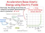 accelerators raise kinetic energy using electric fields