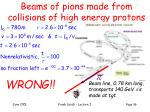 beams of pions made from collisions of high energy protons