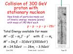 collision of 300 gev proton with stationary nucleon