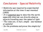 conclusions special relativity
