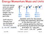 energy momentum mass and units