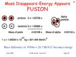 mass disappears energy appears fusion