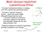 most obvious resolution luminiferous ether
