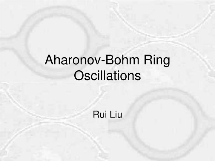 aharonov bohm ring oscillations n.