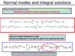normal modes and integral solutions1