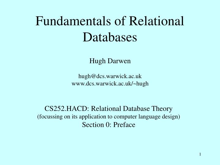 fundamentals of relational databases n.