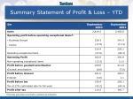 summary statement of profit loss ytd