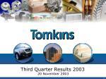 third quarter results 2003