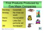 first products produced by five major companies