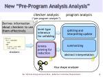 new pre program analysis analysis