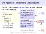 our approach executable specifications