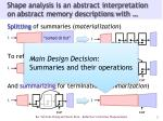 shape analysis is an abstract interpretation on abstract memory descriptions with