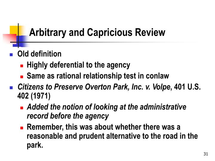 Arbitrary and Capricious Review