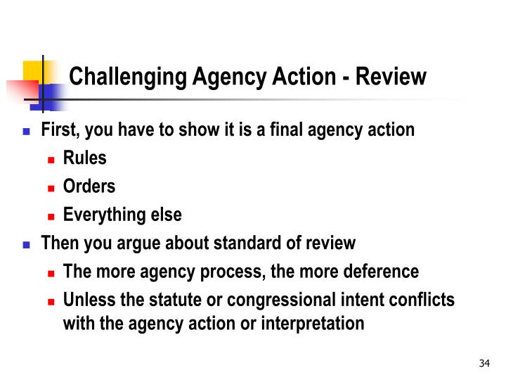 Challenging Agency Action - Review