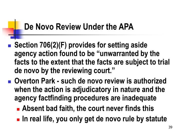 De Novo Review Under the APA