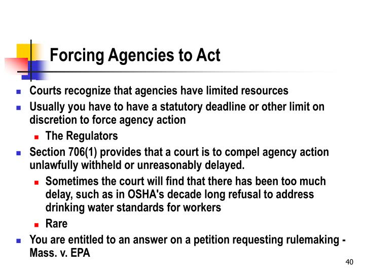 Forcing Agencies to Act