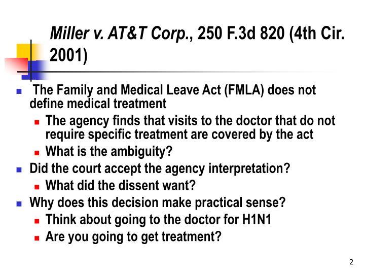 Miller v at t corp 250 f 3d 820 4th cir 2001