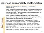 criteria of comparability and parallelism