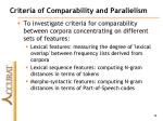 criteria of comparability and parallelism1