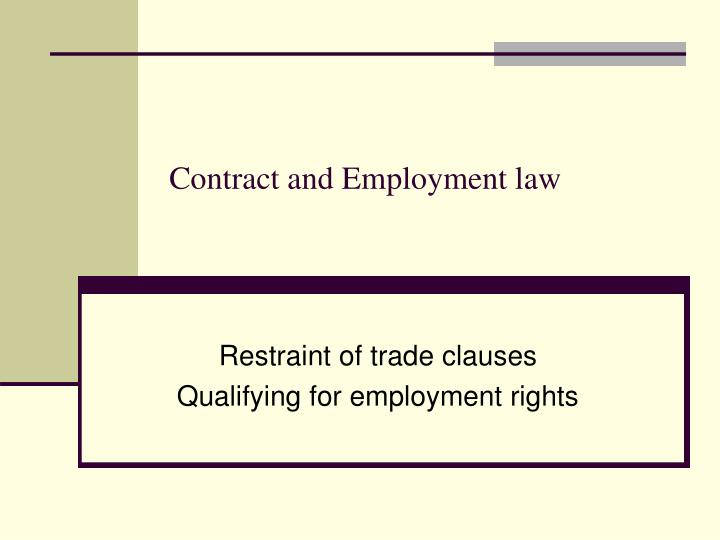 contract and employment law n.