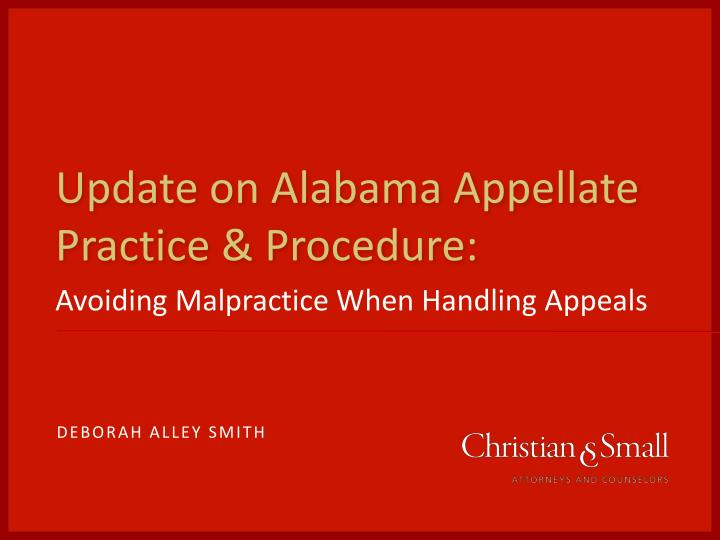 update on alabama appellate practice procedure n.