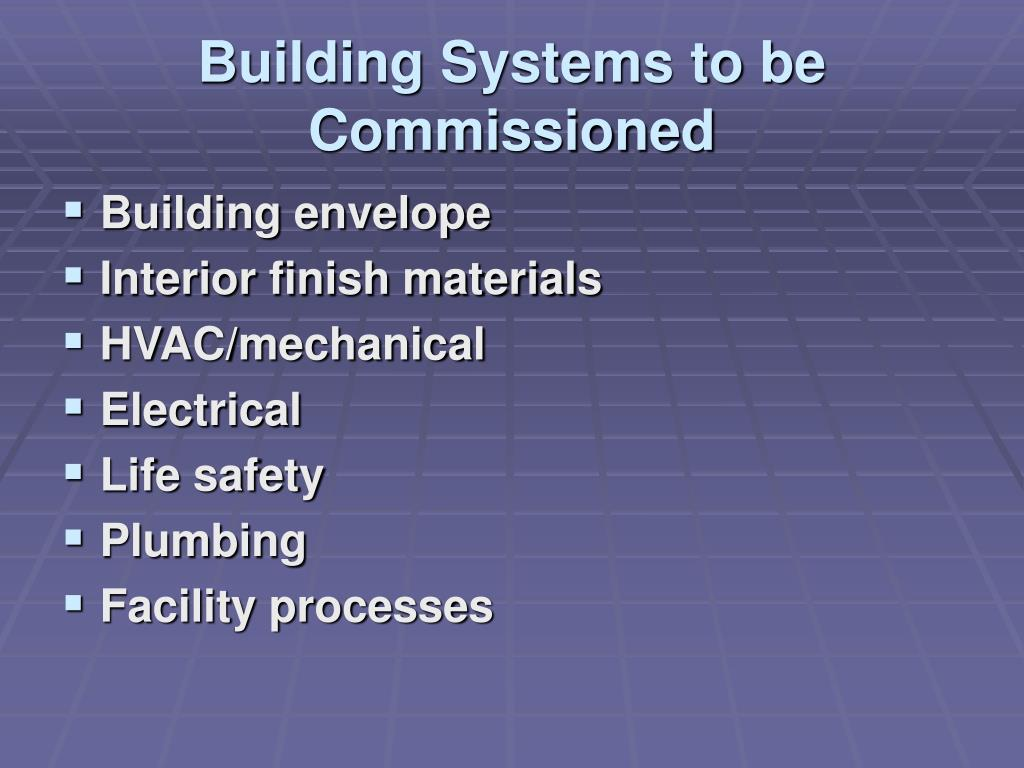 Building Systems to be Commissioned